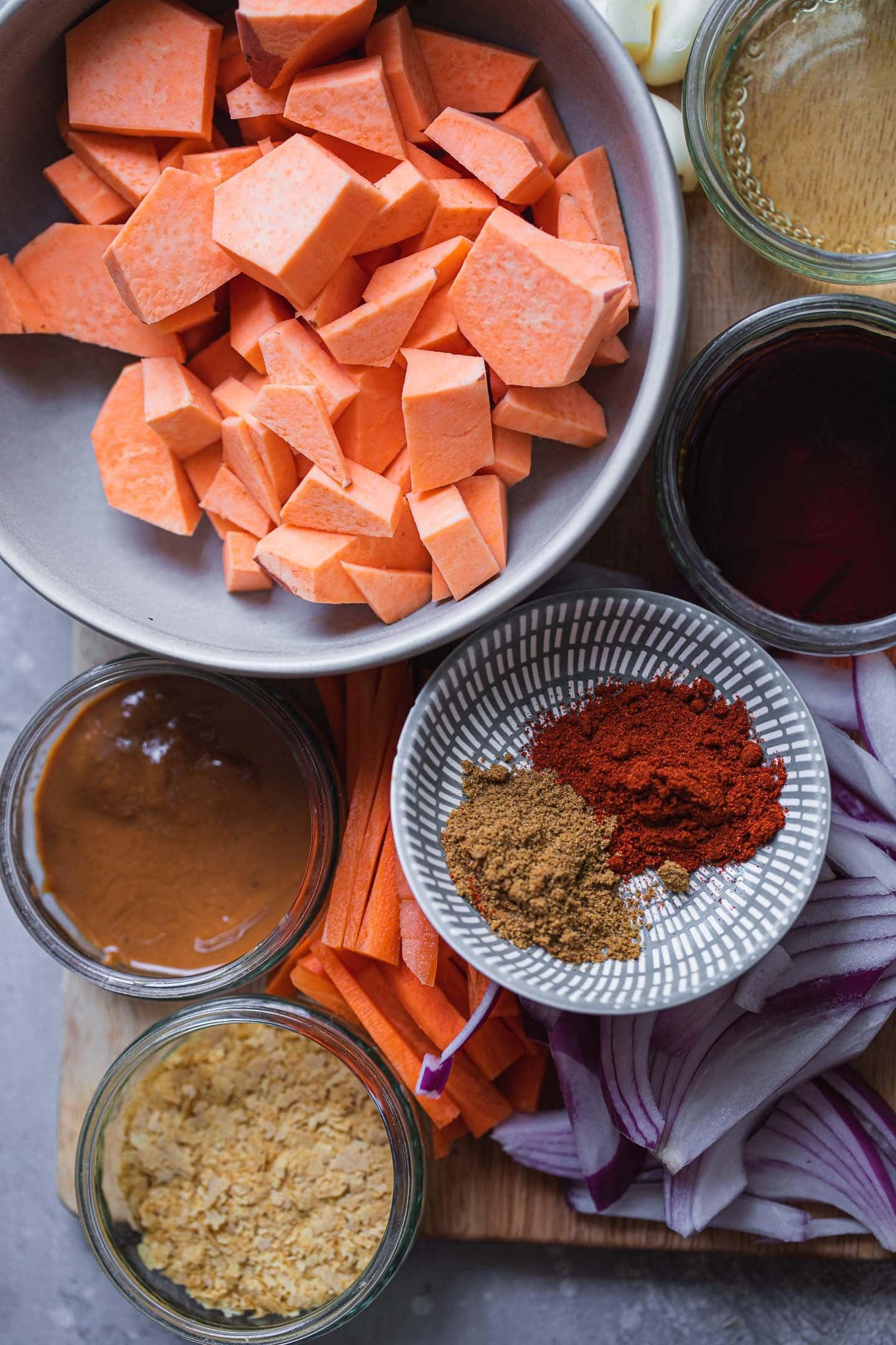 Ingredients for vegan sweet potato casserole
