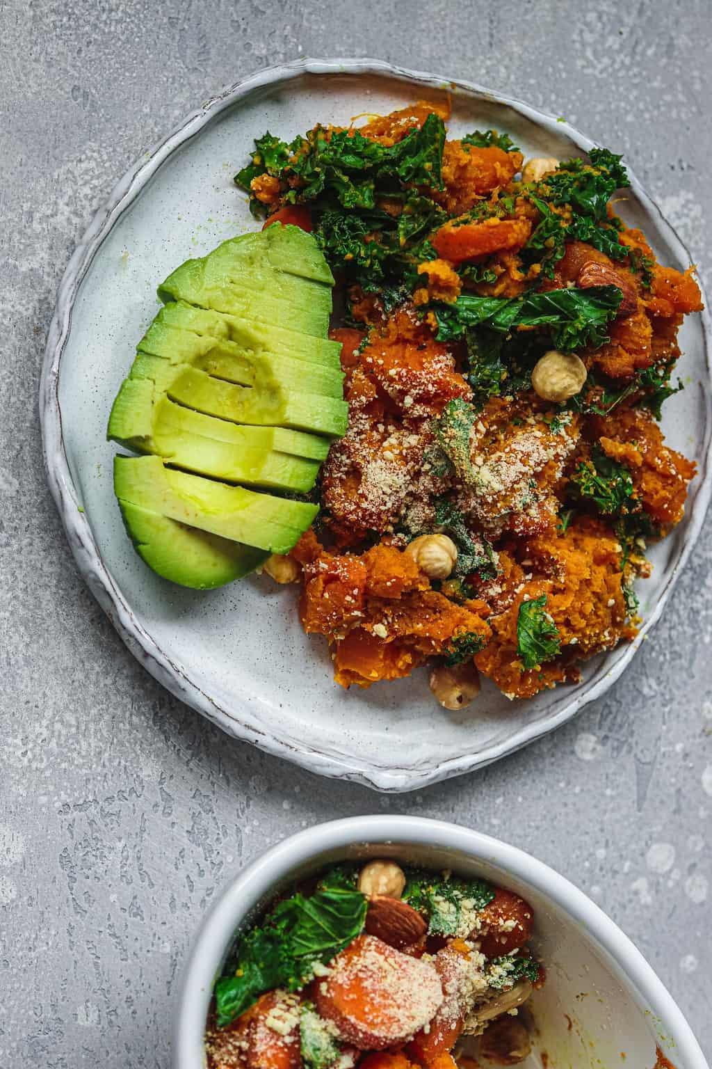 Vegan casserole on a white plate