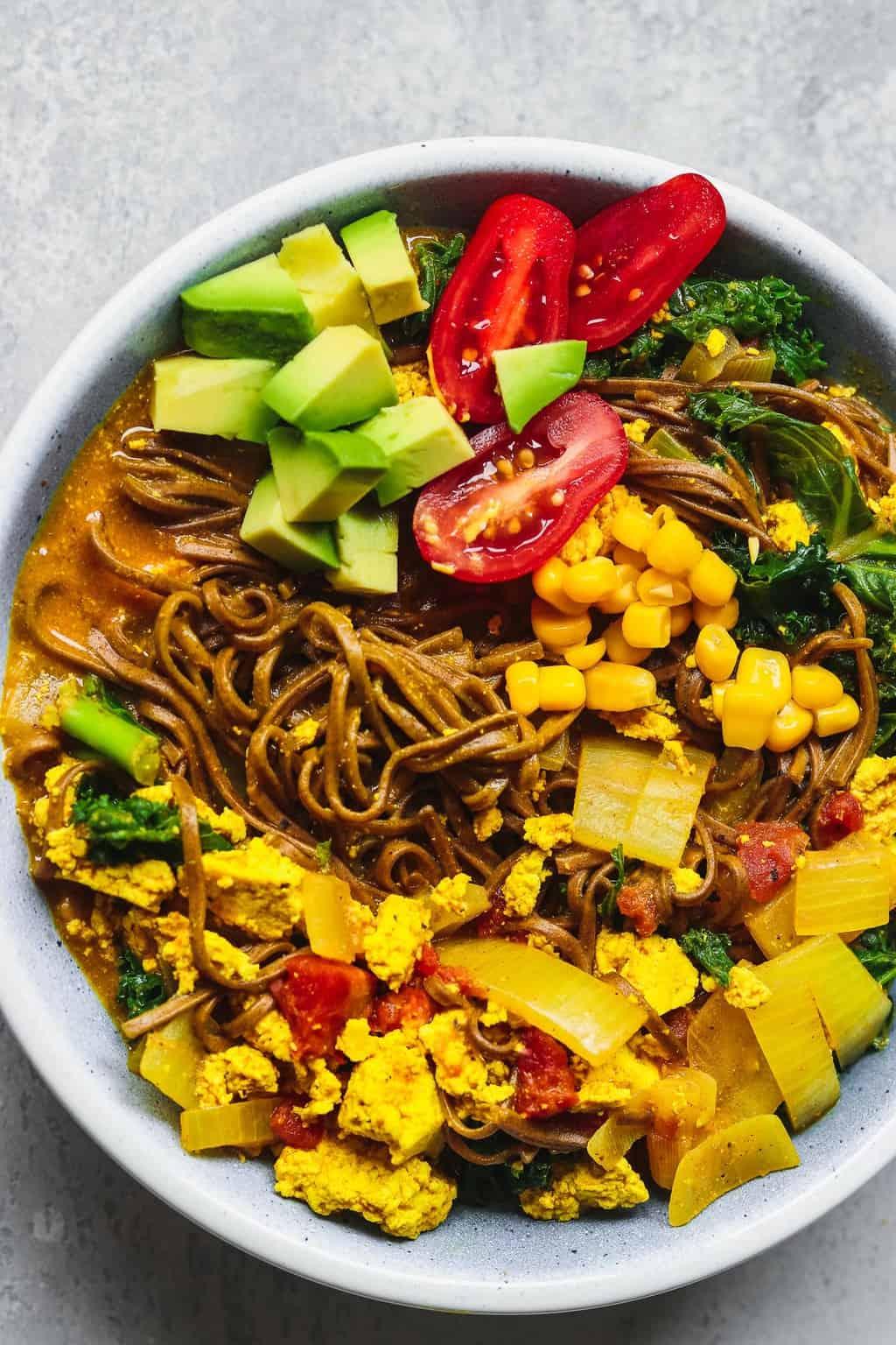 Vegan curry soup with tofu