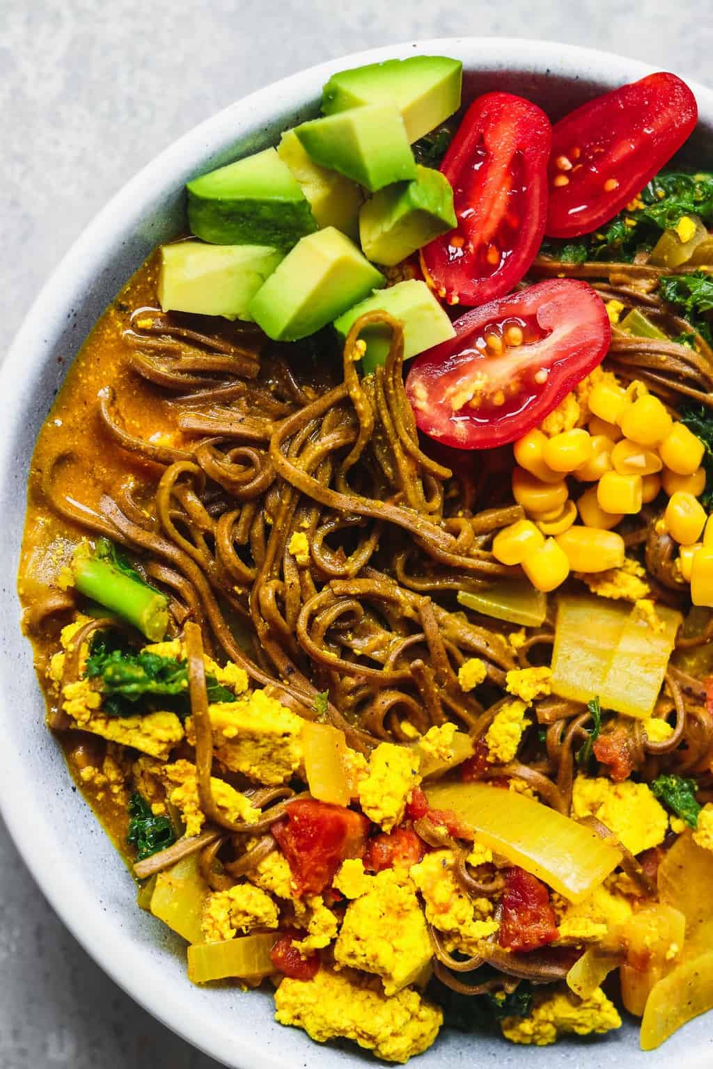 Bowl with vegan curried soup