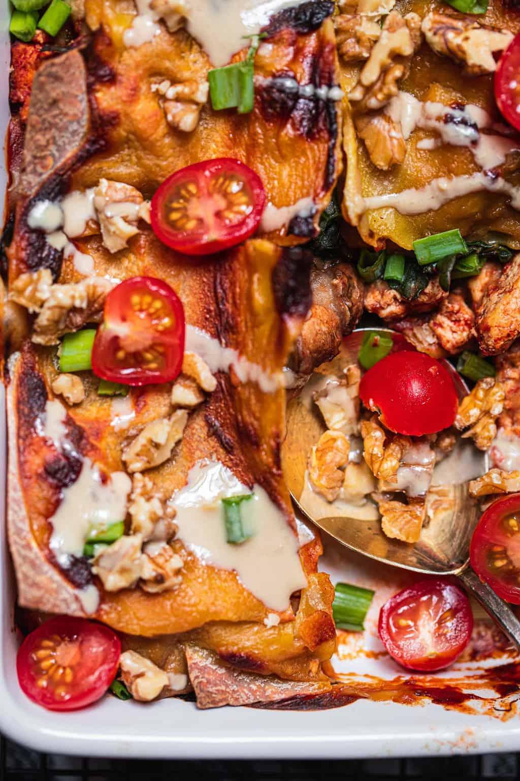 Closeup of gluten-free veggie lasanga