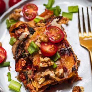 Gluten-free vegan lasagna with tofu