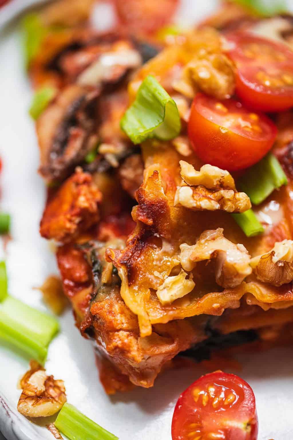 Vegan lasagna with tofu gluten-free oil-free