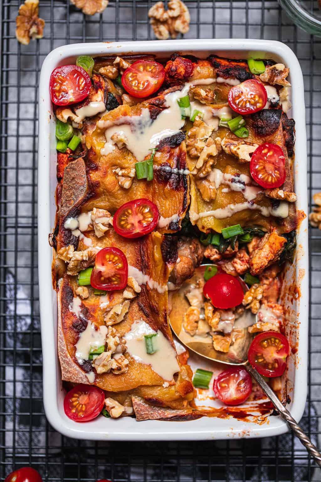 Dish of vegan tofu lasagna