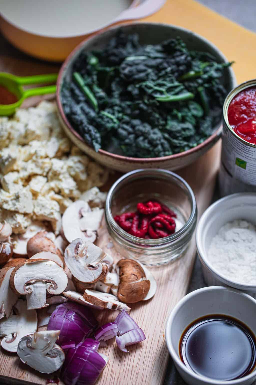Ingredients for a gluten-free vegan lasagna