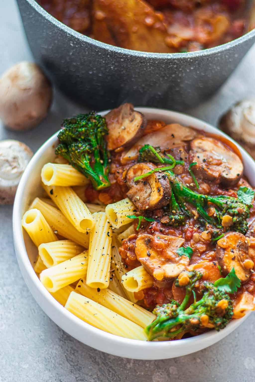 Vegan pasta sauce in a white bowl