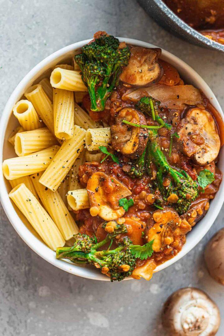 Easy vegan lentil bolognese gluten-free