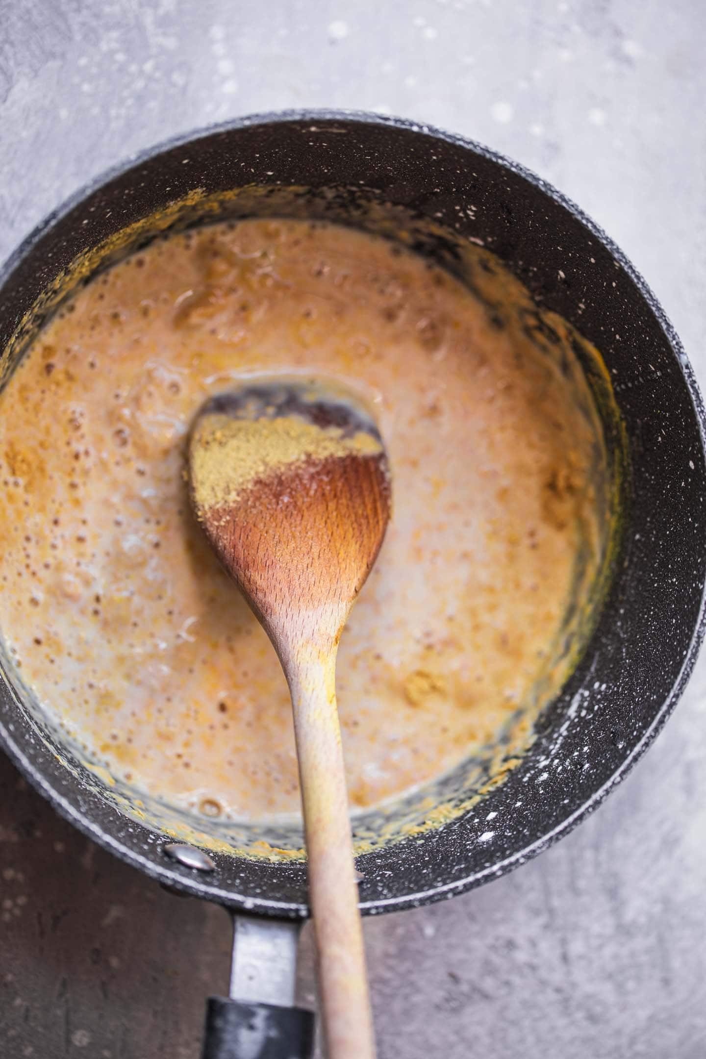 Saucepan with a vegan sauce