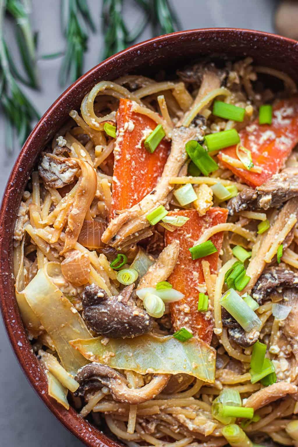 Vegan mushroom tofu stir-fry
