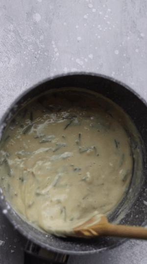 Creamy vegan sauce in a saucepan