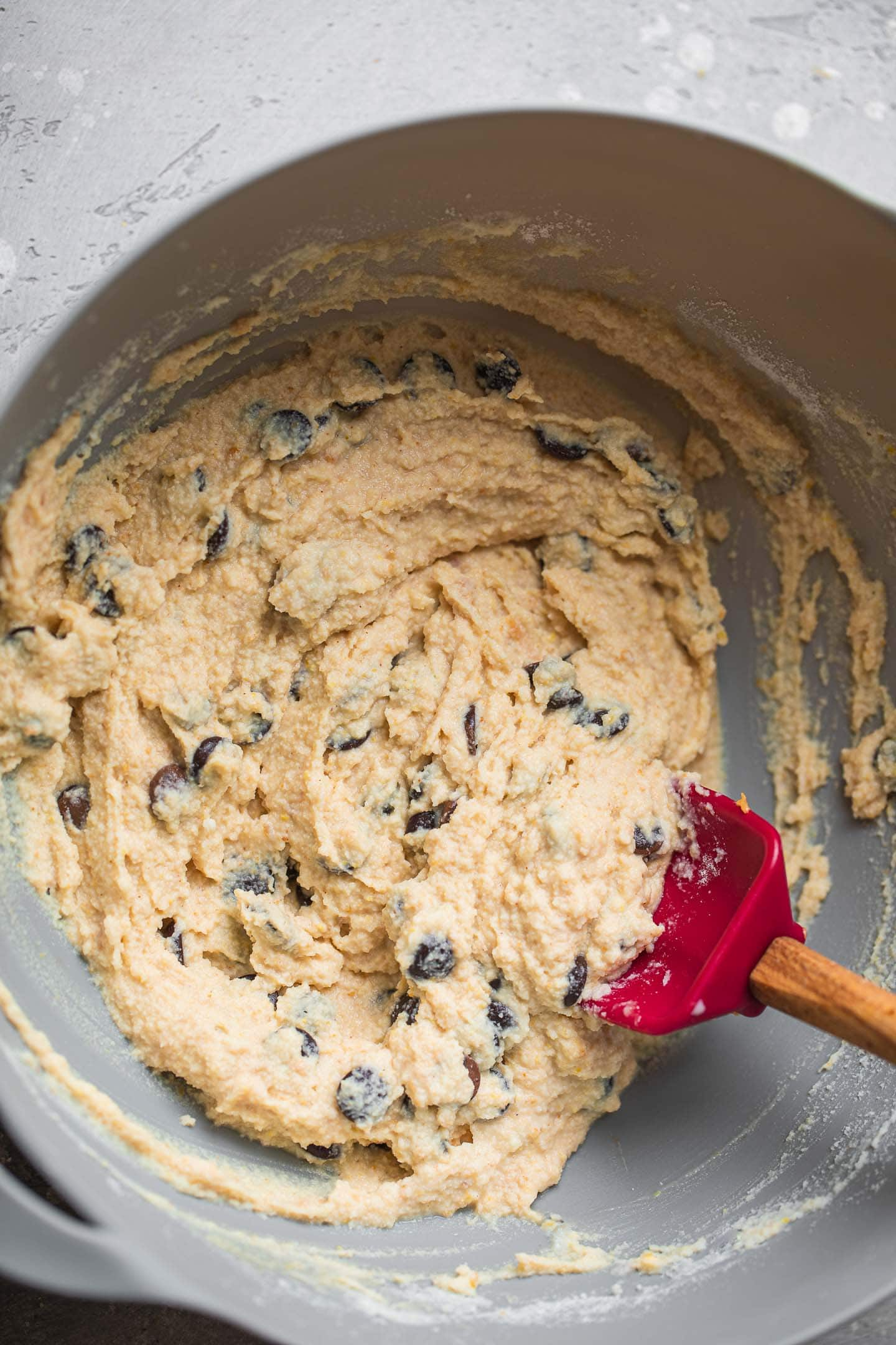 Coconut flour muffins batter with chocolate chips