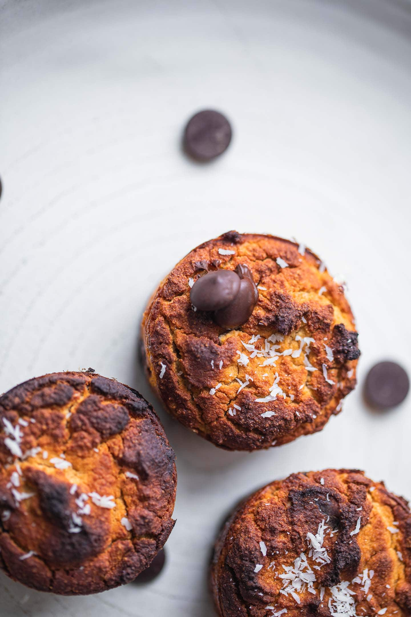 Dairy-free chocolate chip muffins on a plate