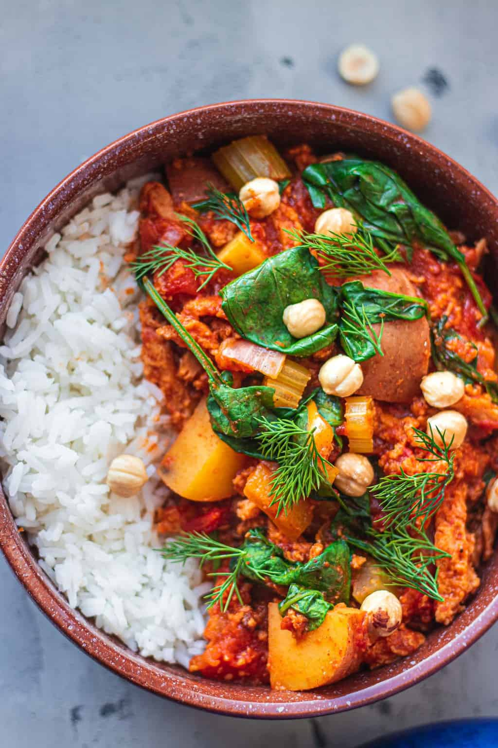 Vegan goulash on white rice