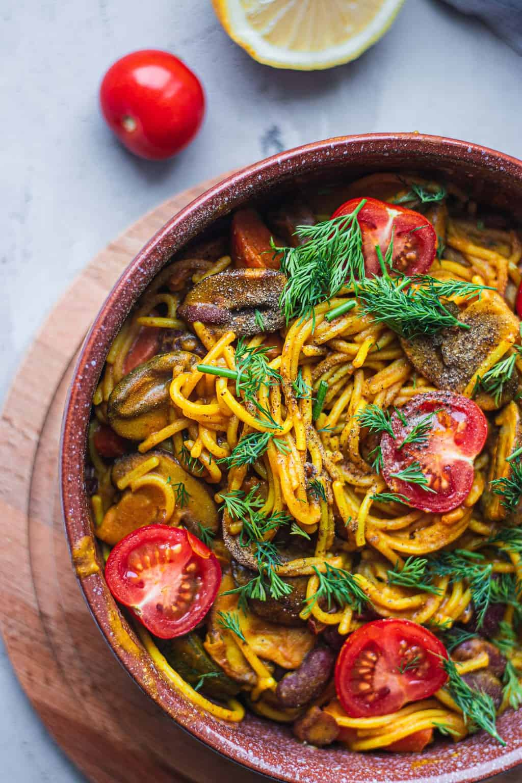 Vegan one pot pasta with mushrooms and vegetables