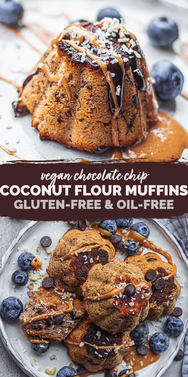 Vegan chocolate chip coconut flour muffins