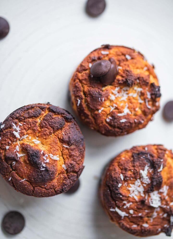 Vegan chocolate chips coconut flour muffins