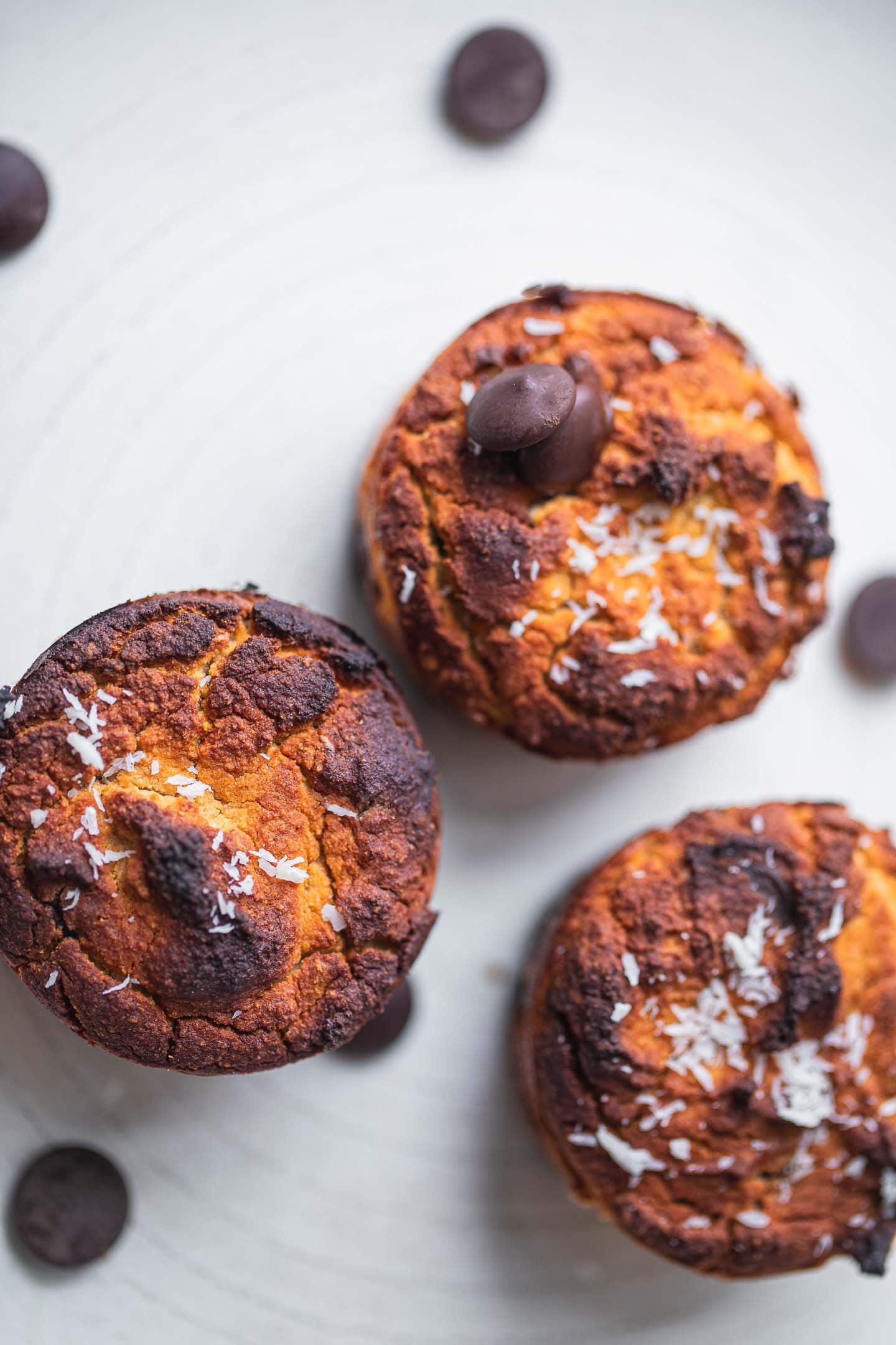 Vegan chocolate chips coconut flour muffins