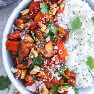 Vegan eggplant butternut squash curry