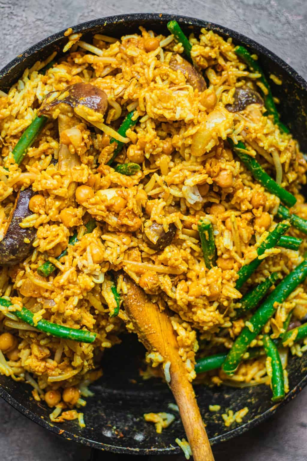 Vegetable fried rice in a frying pan