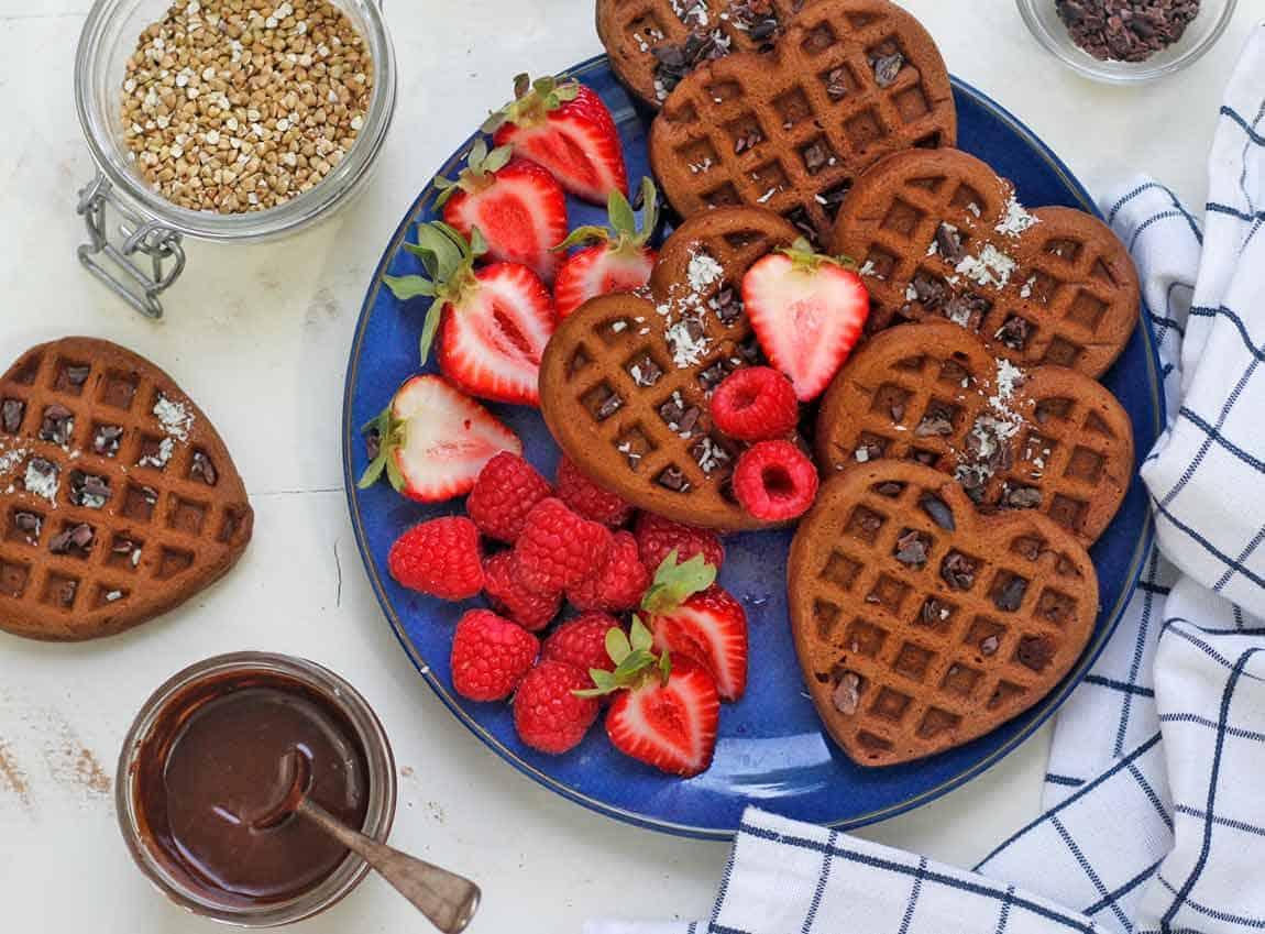 Chocolate chunk buckwheat waffles