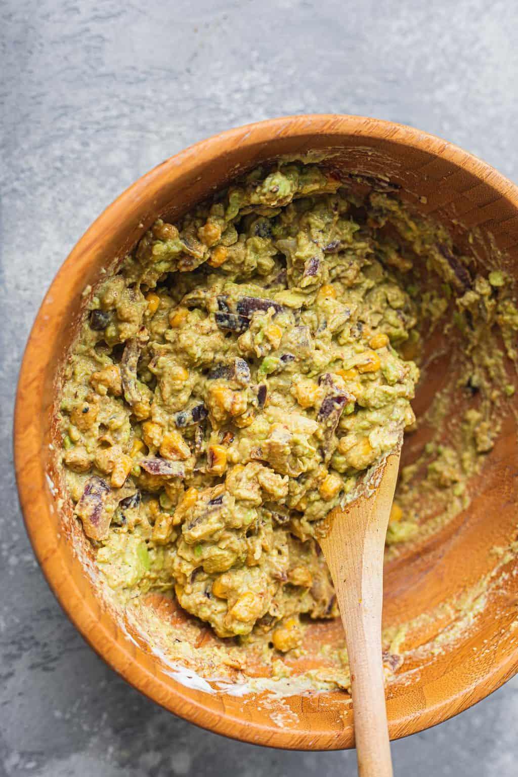 Guacamole in a mixing bowl
