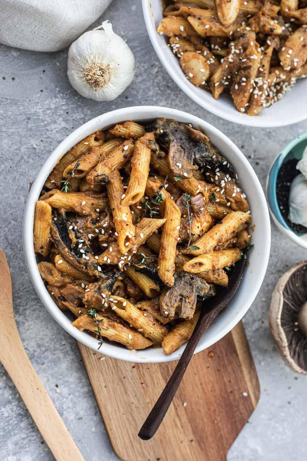 Butter bean pasta with portobello mushrooms