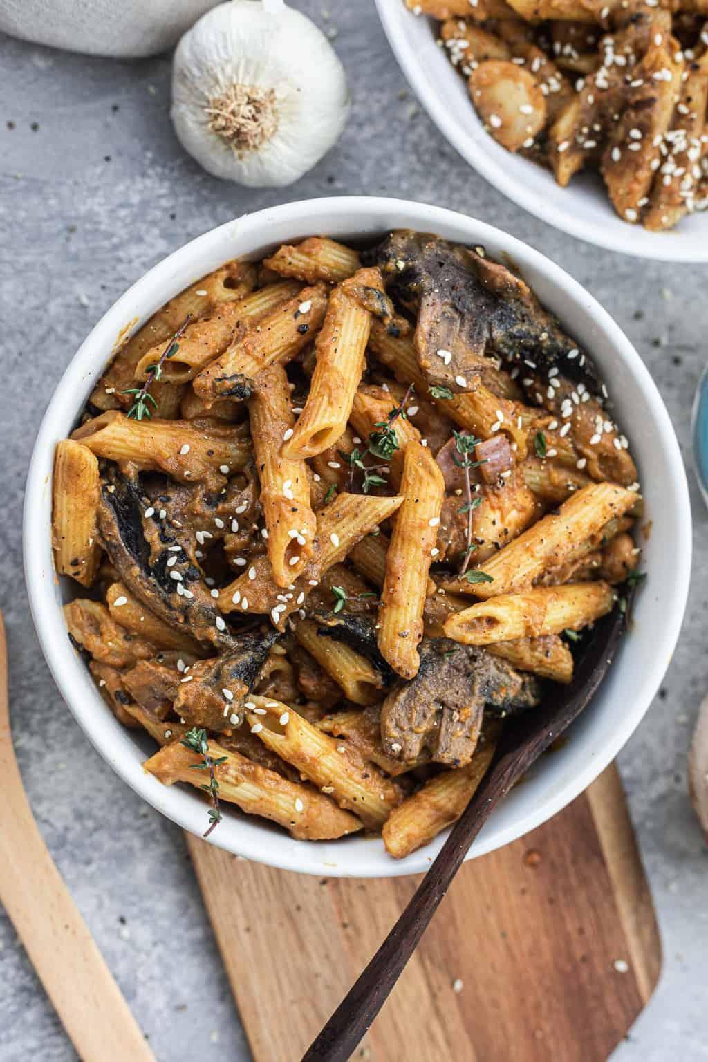 Portobello mushroom pasta with butter beans