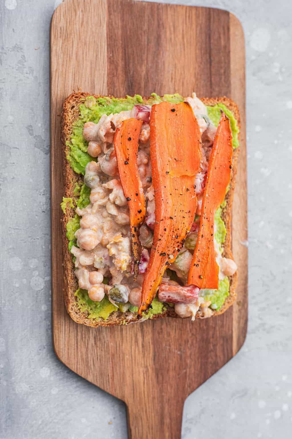 Open-faced chickpea salad sandwich
