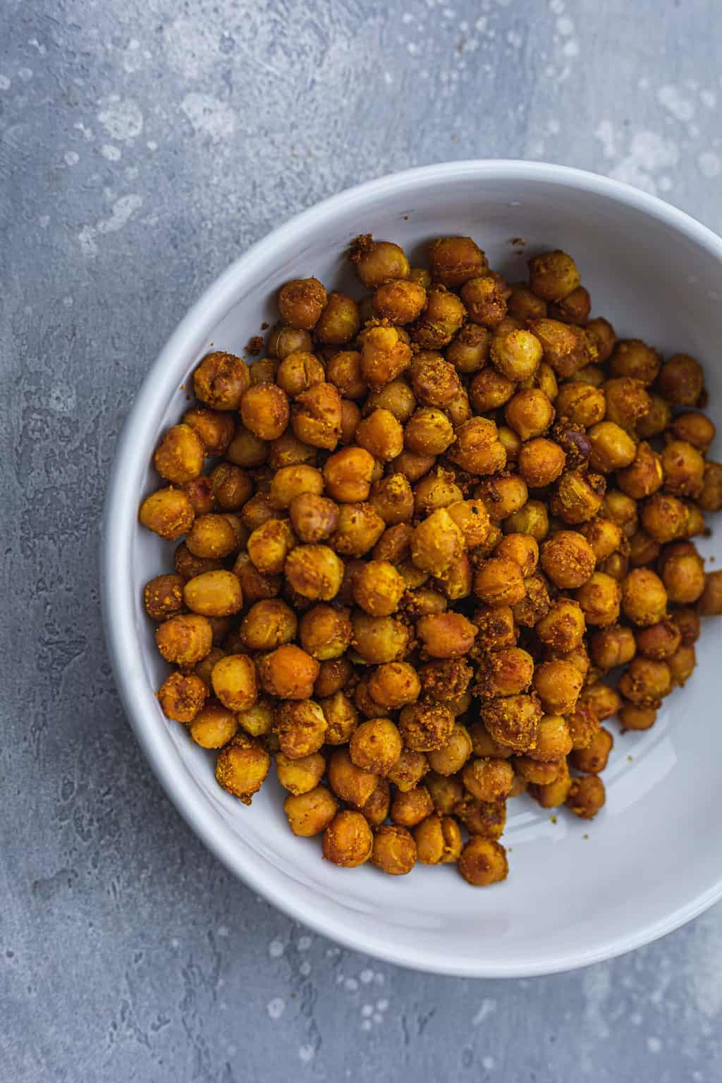 Vegan roasted chickpeas in a white bowl