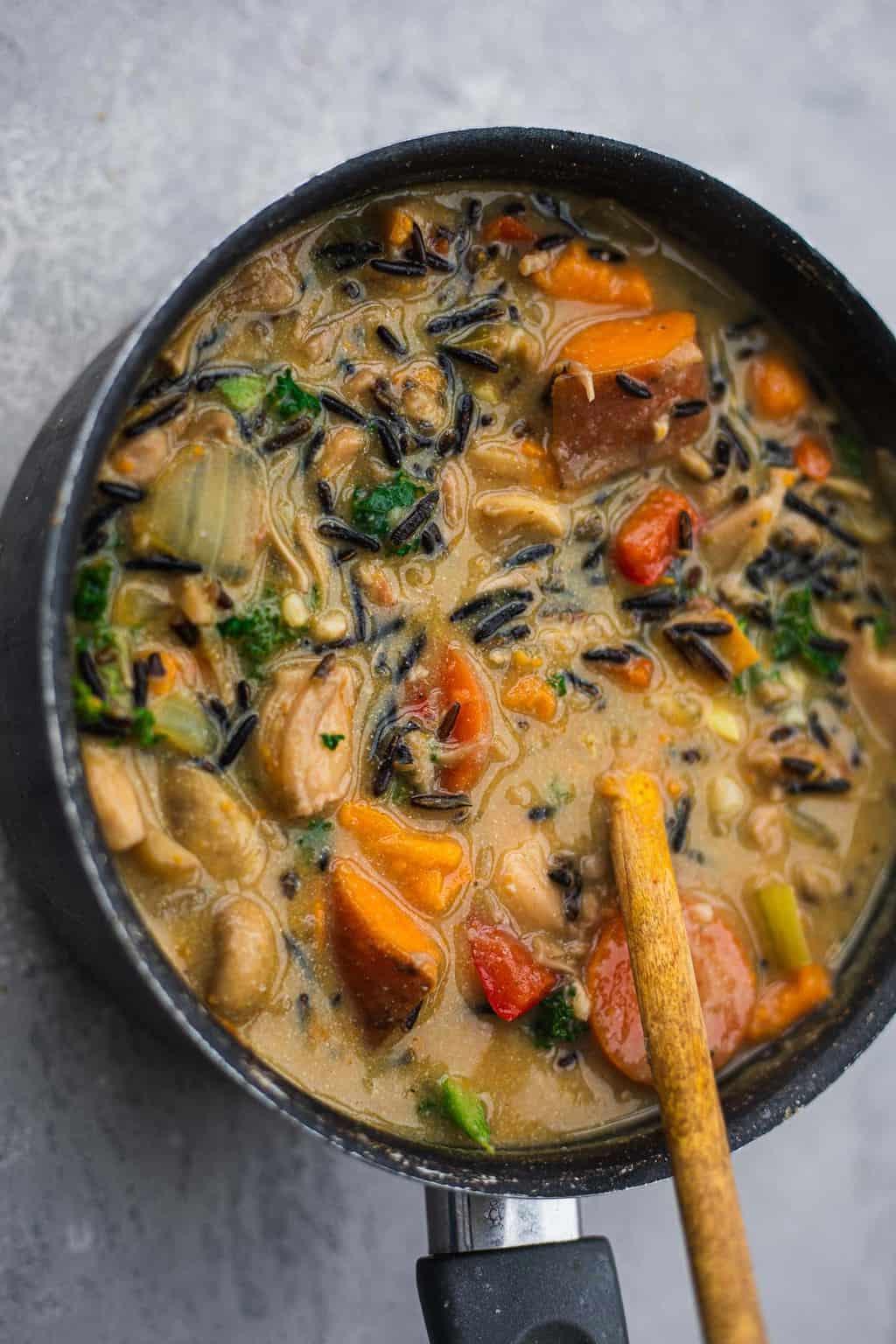 Saucepan with creamy vegan vegetable soup