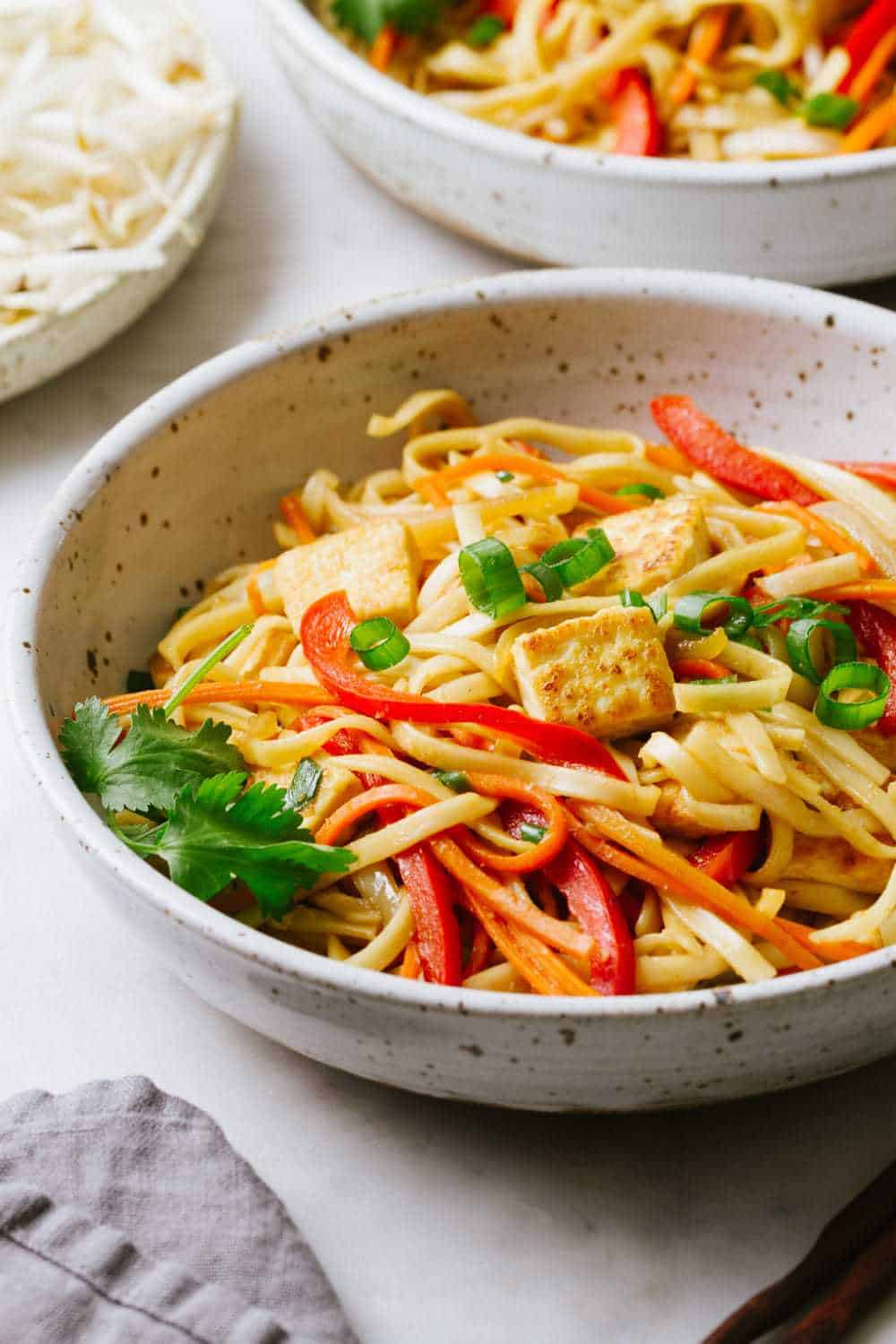 Vegetable lo mein with crispy tofu