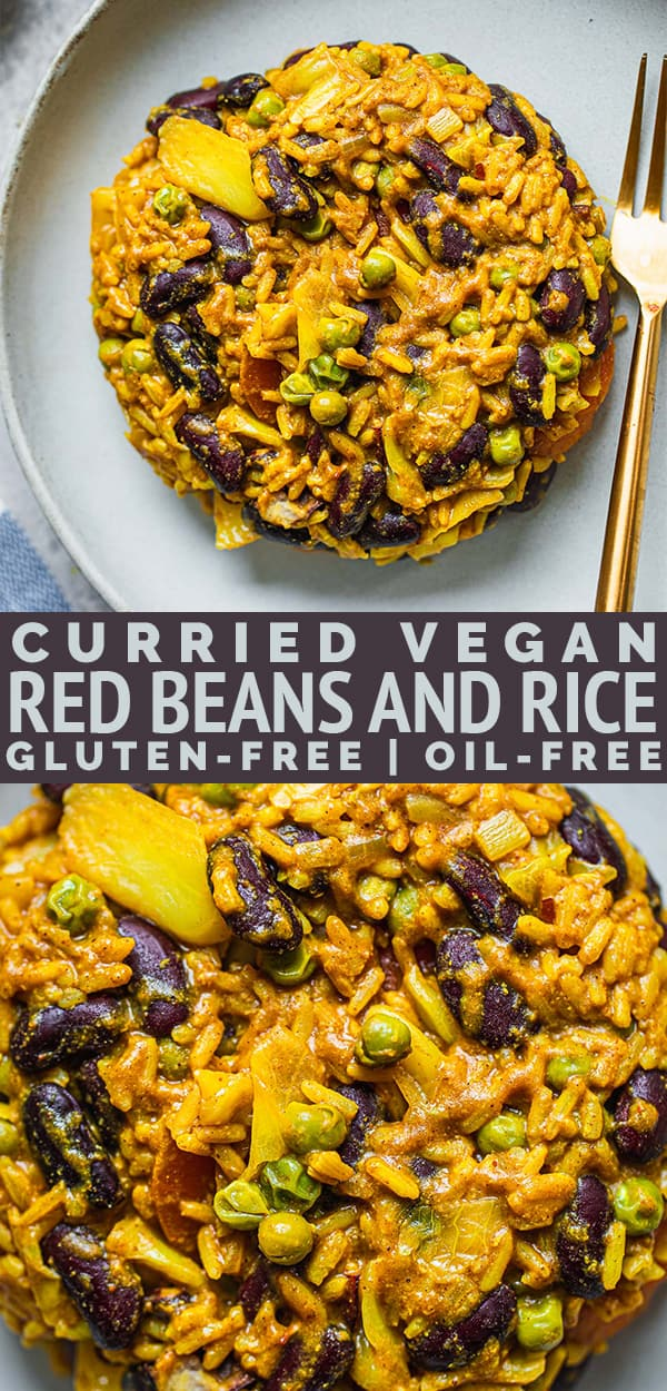Curried vegan red beans and rice gluten-free oil-free
