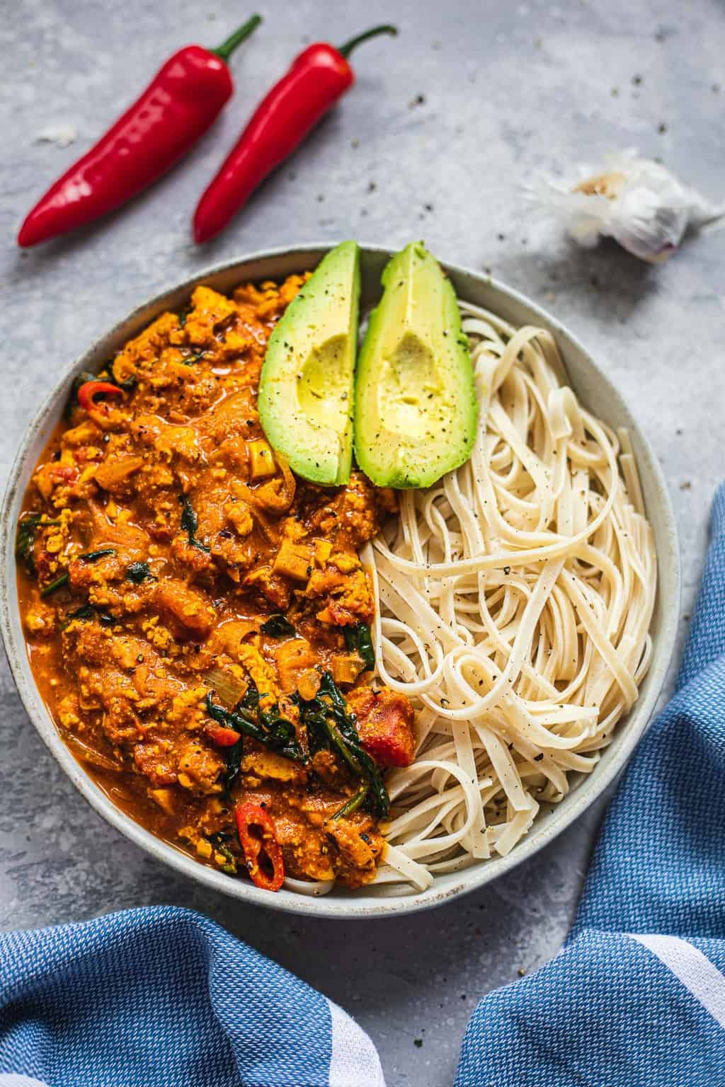Vegan curry in a bowl with noodles