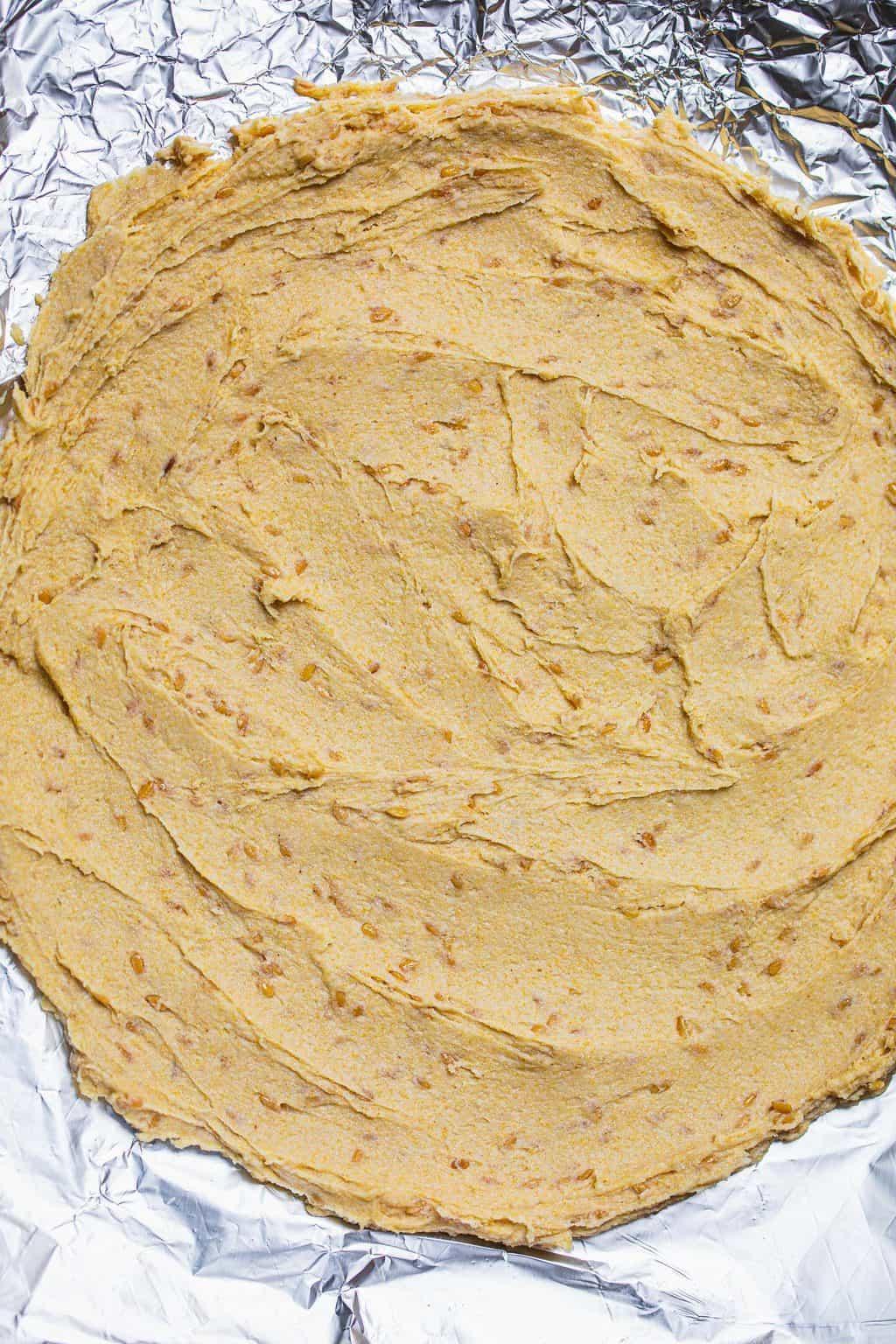 Unbaked gluten-free vegan pizza dough