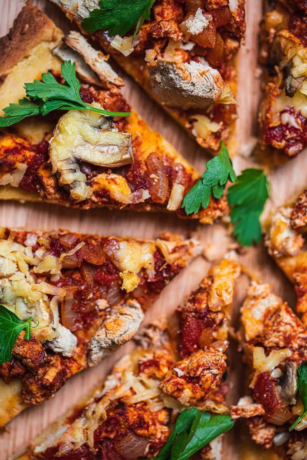 Closeup of vegan pizza with mushrooms