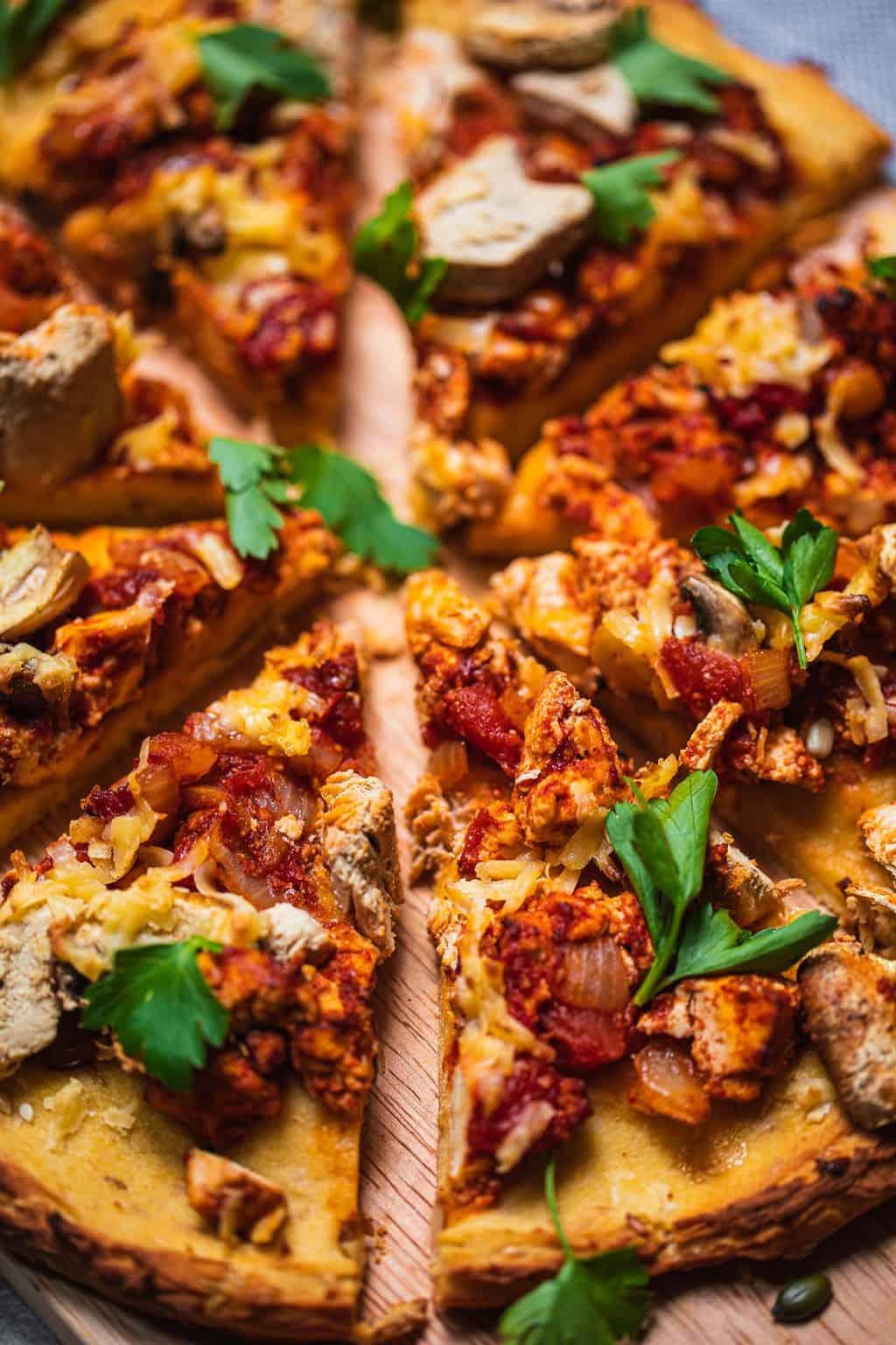 Closeup of tofu pizza