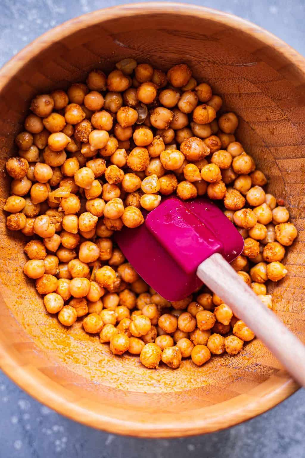 Turmeric chickpeas in a mixing bowl