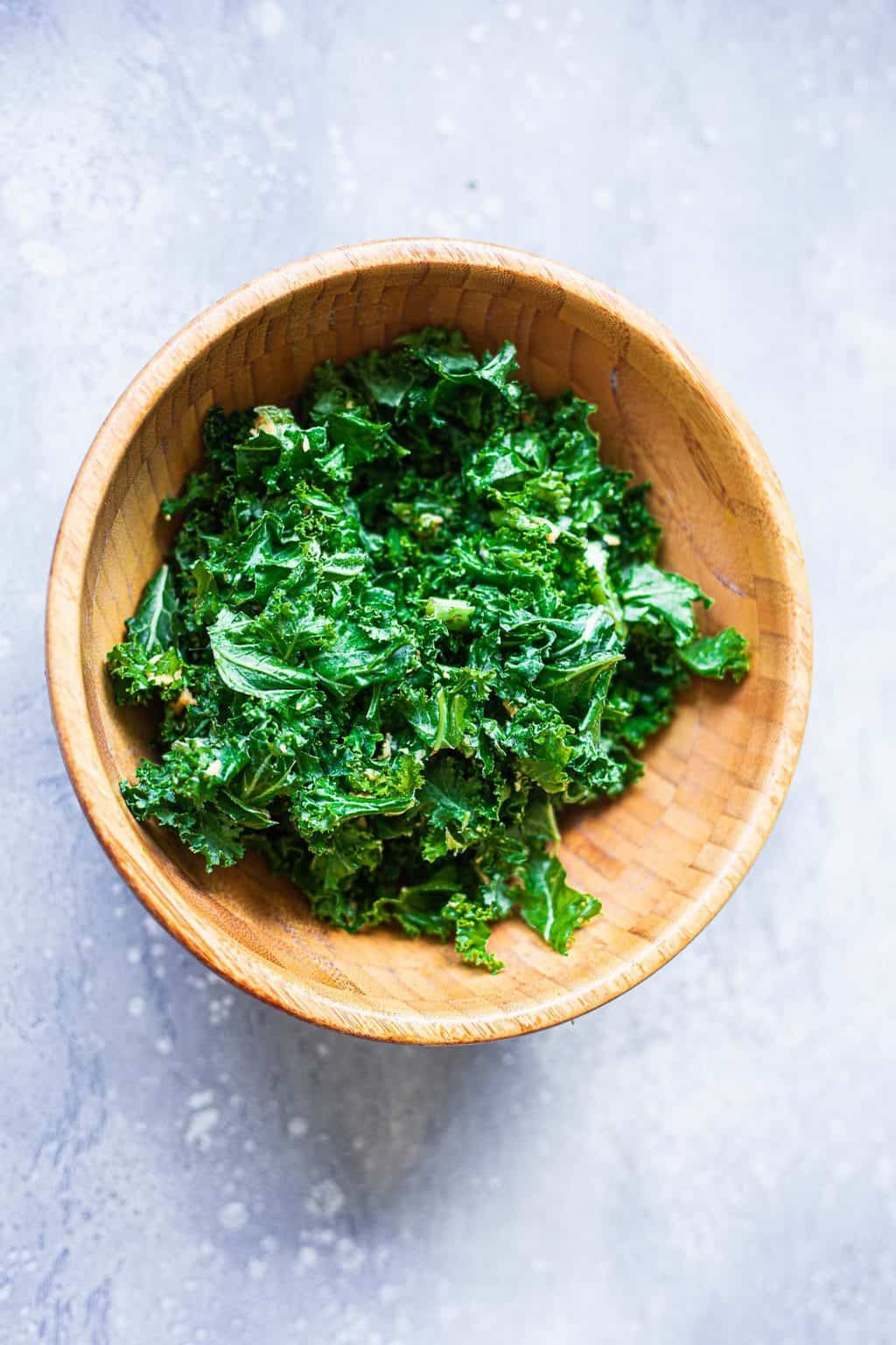 Massaged kale in a mixing bowl