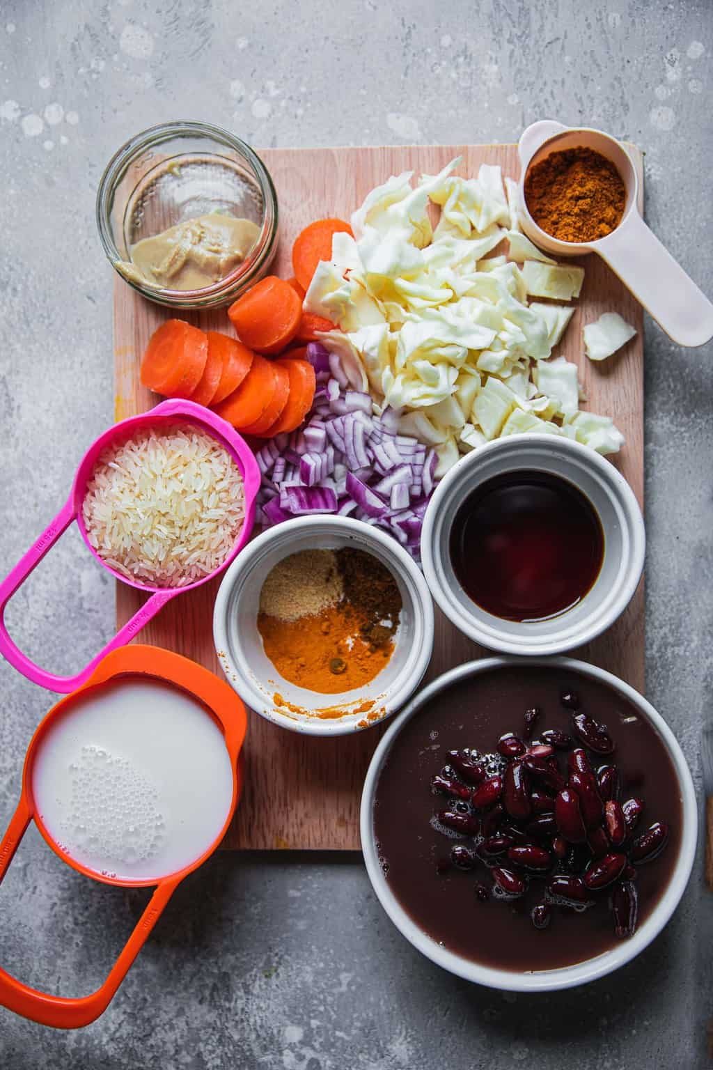 Ingredients for vegan red beans and rice