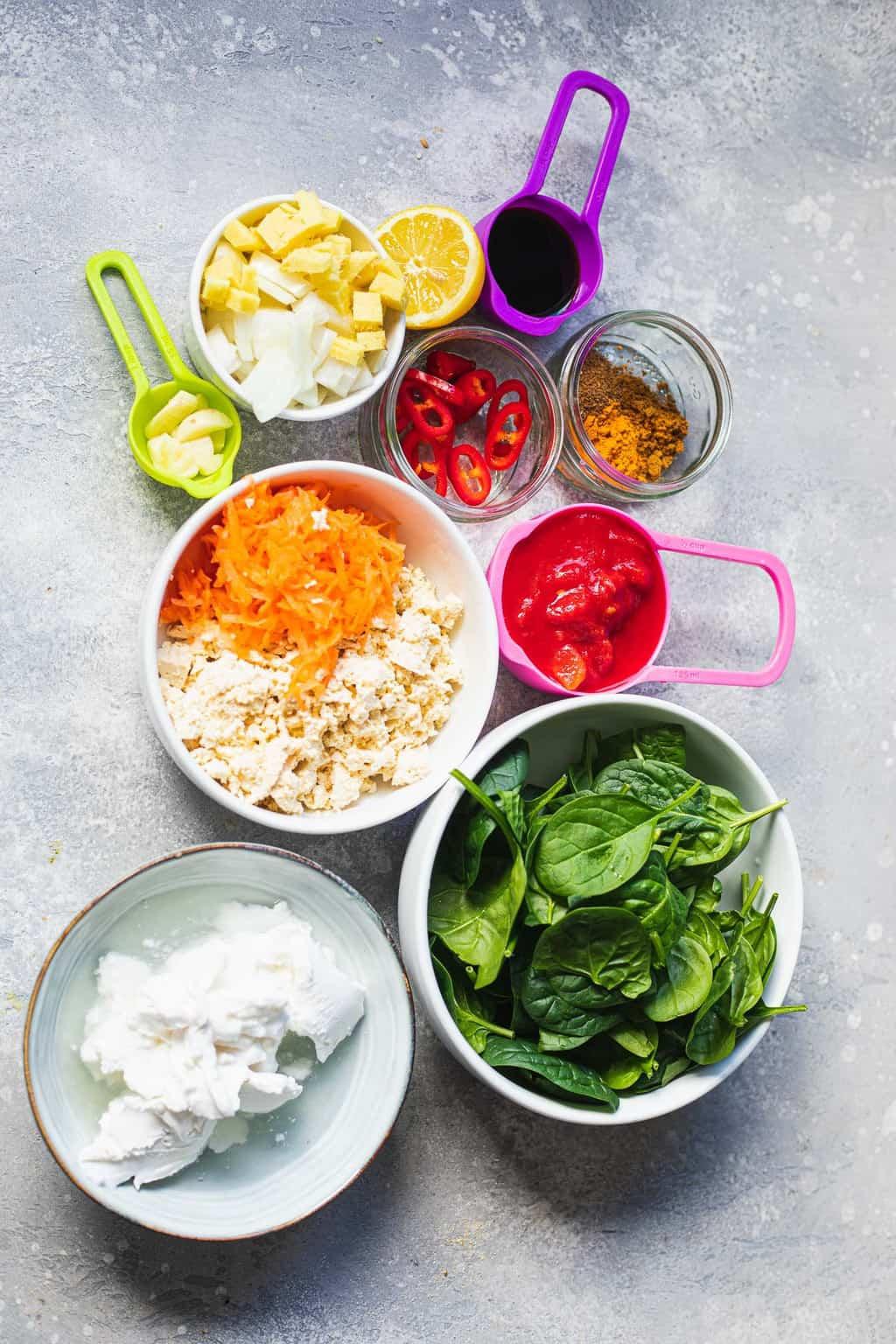 Ingredients for vegan tofu curry