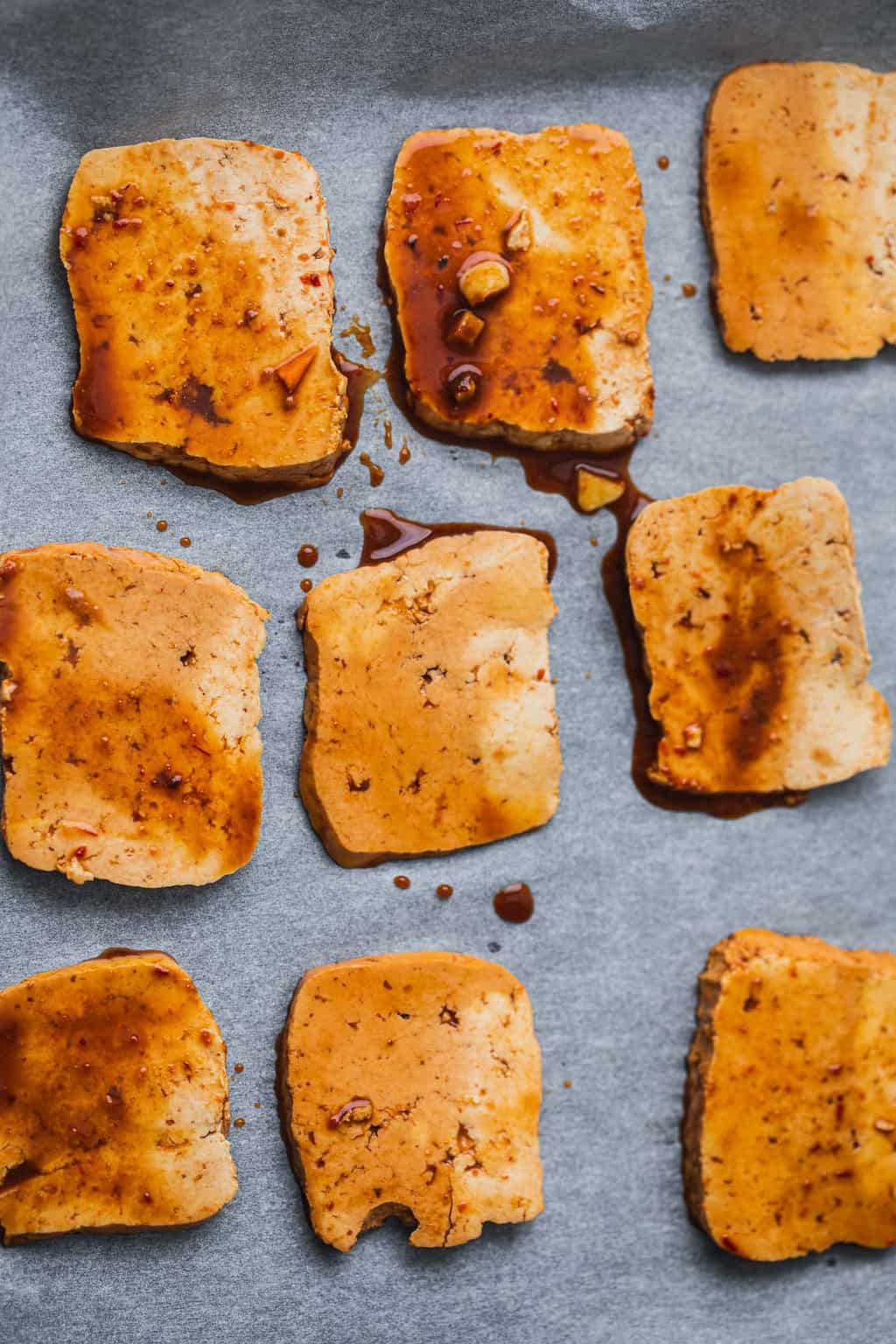 BBQ tofu on a baking tray
