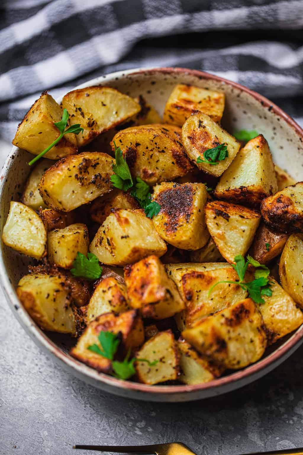 Bowl of vegan roasted potatoes