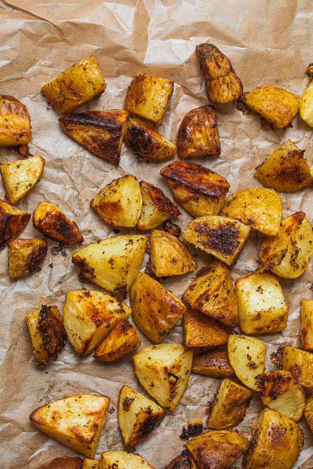 Vegan roast potatoes on a baking sheet