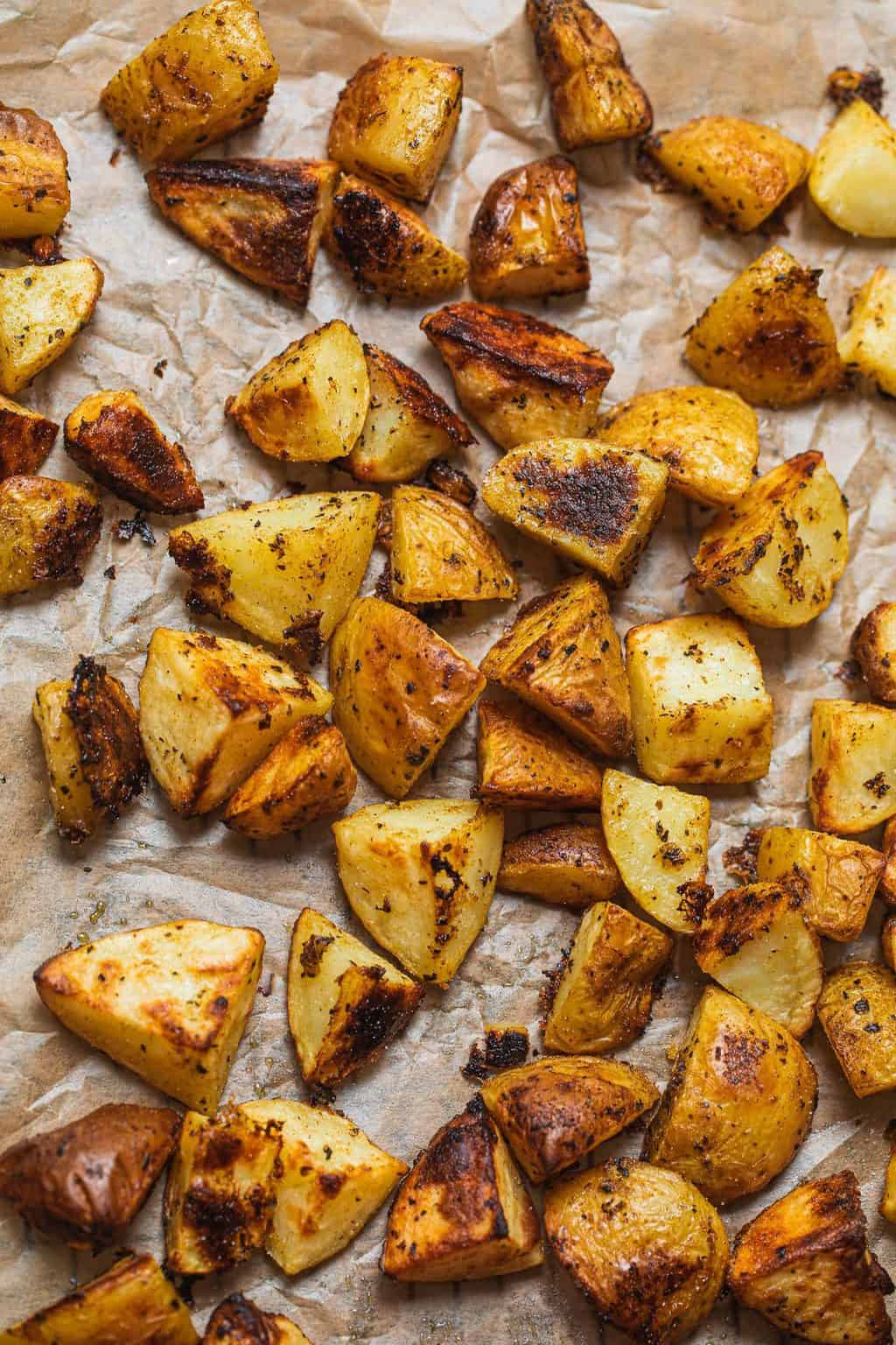 Roasted lemon potatoes on a baking tray