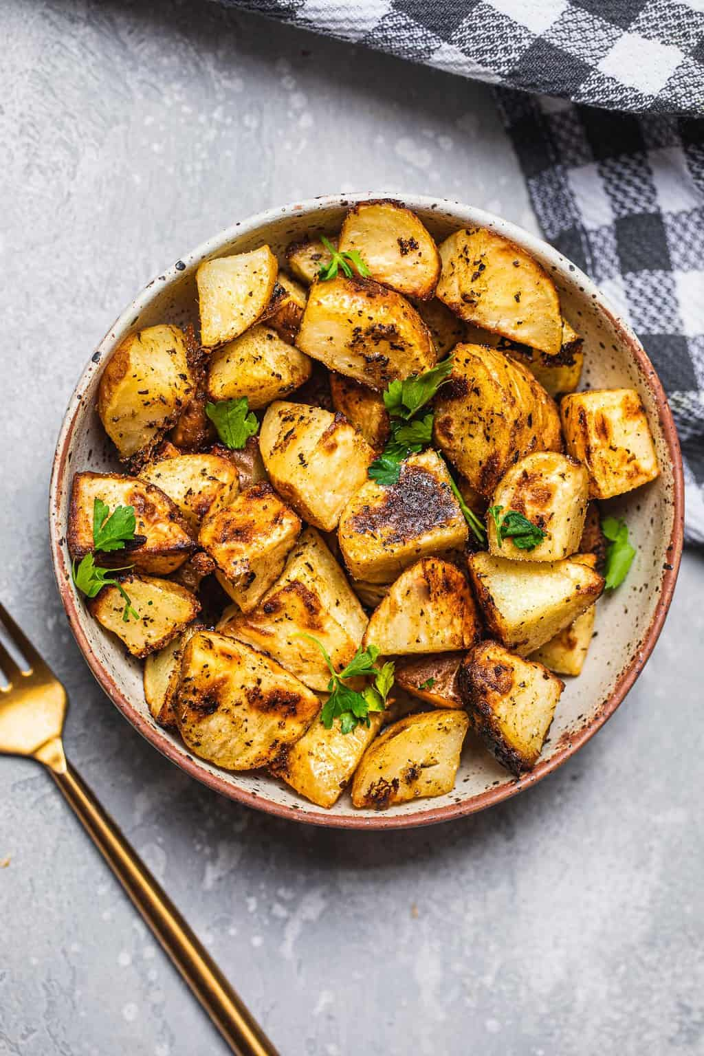 Bowl of potatoes and coriander