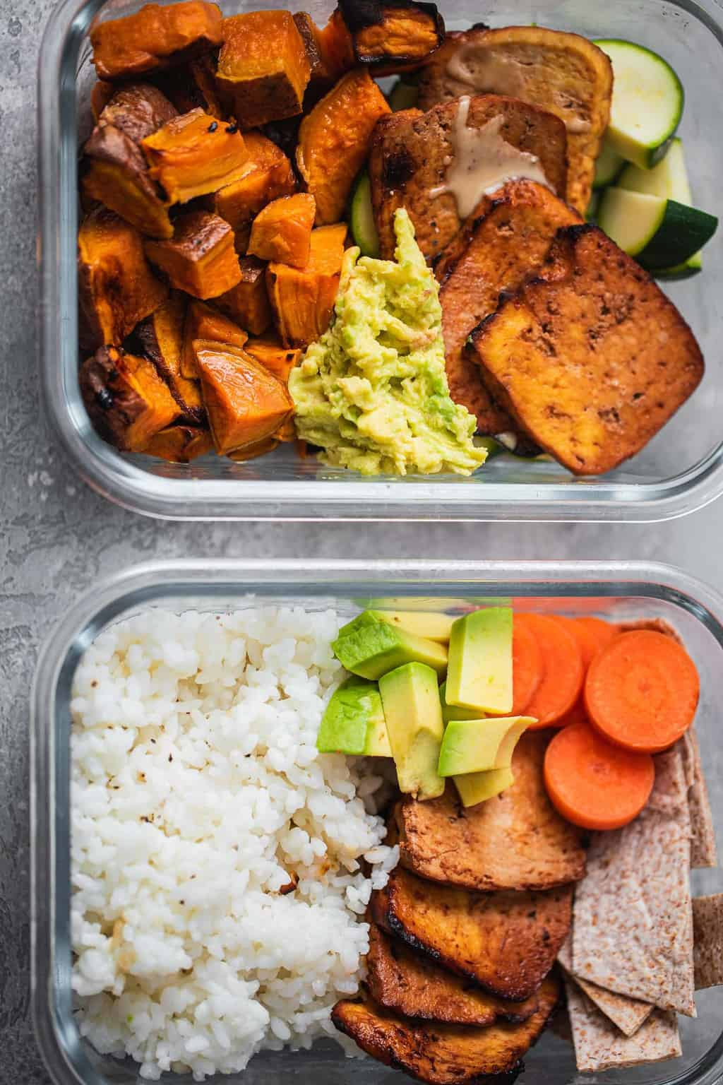 Tofu meal prep boxes with rice and sweet potato