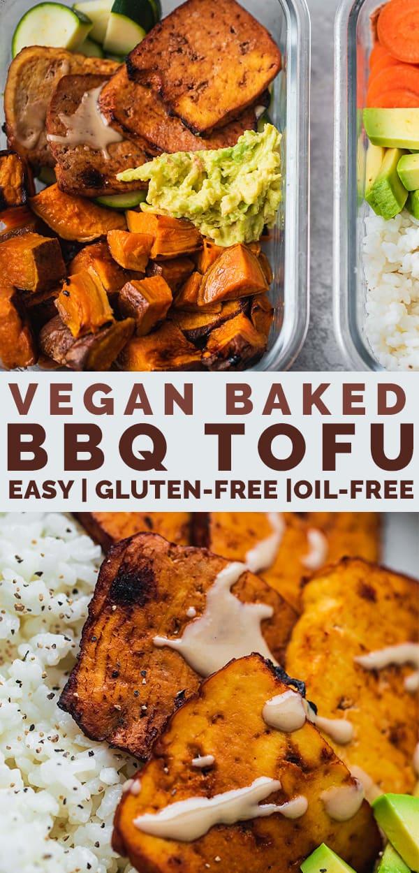 Vegan baked BBQ tofu gluten-free oil-free