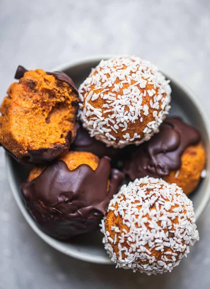 Vegan carrot cake bliss balls gluten-free oil-free
