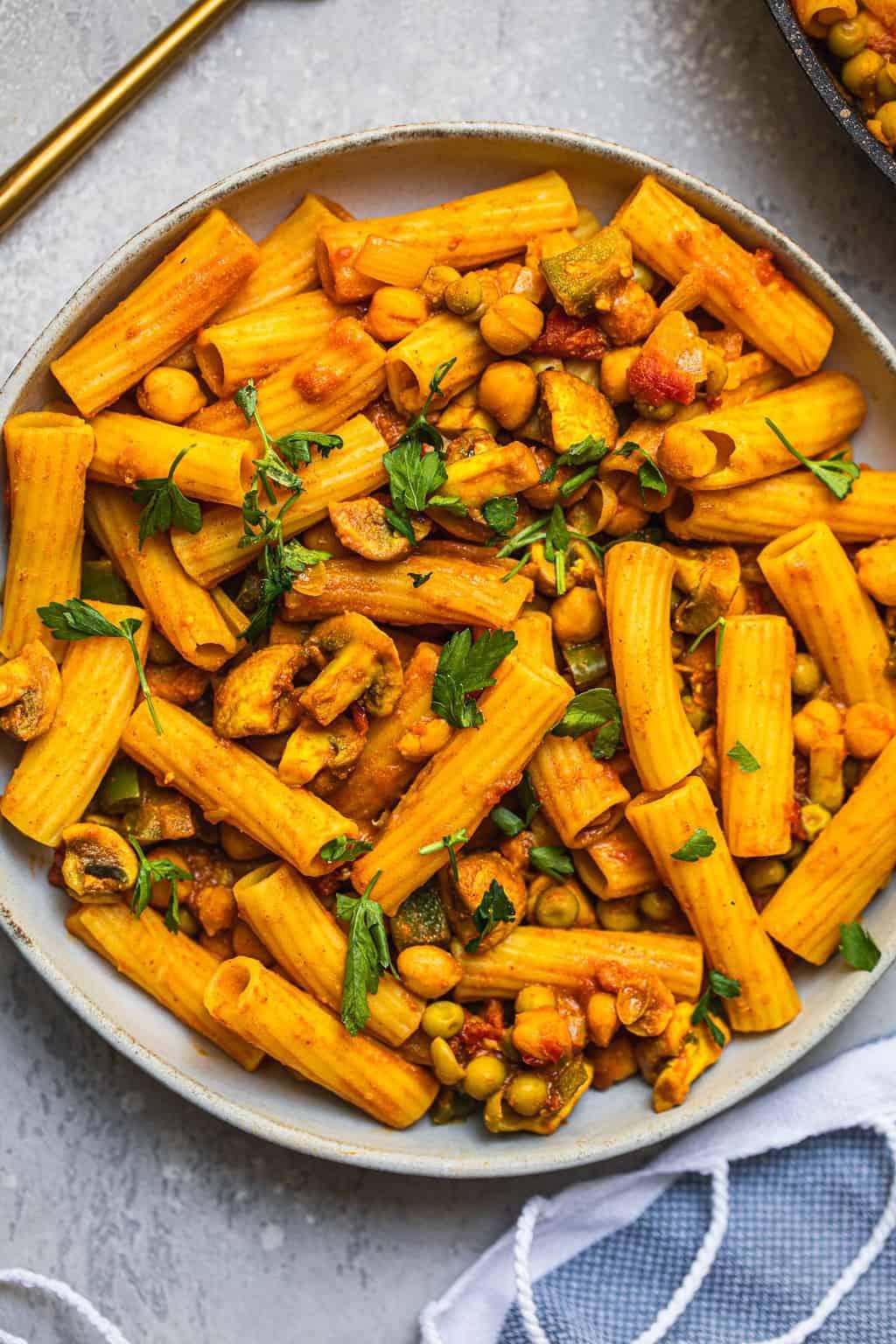 Vegan chickpea pasta with mushrooms gluten-free oil-free