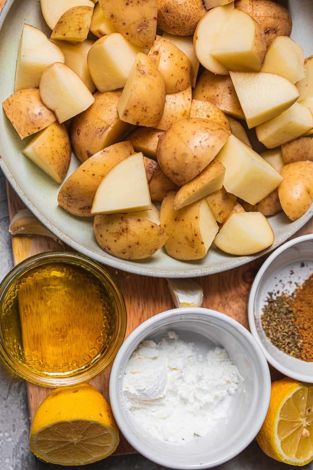 Ingredients for the best roasted potatoes